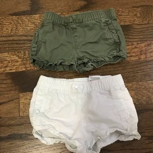 Two girls shorts with ruffle trim